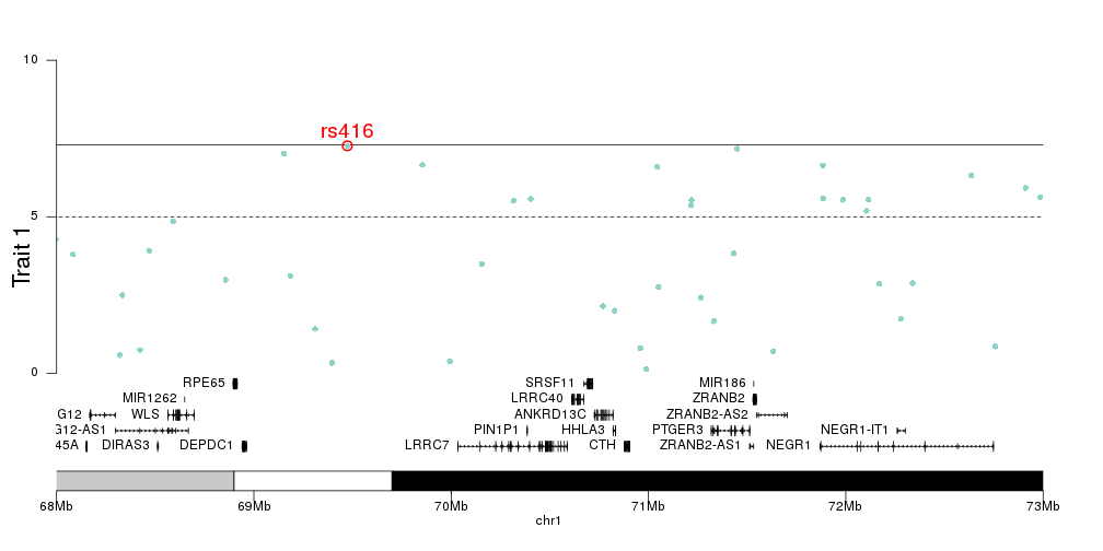 detail of a small region in a manhattan plot with genes plotted